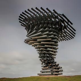 The Singing Ringing Tree  by Tony Munro - Buildings & Architecture Statues & Monuments ( onthemoors, longexposure, ndgradfilter, movingskies, tubularconstruction, singingringingtree, sculpture, bigstopper, windchimes )
