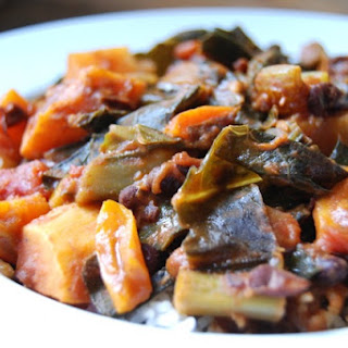 Coconut Collards with Sweet Potatoes and Black Beans.