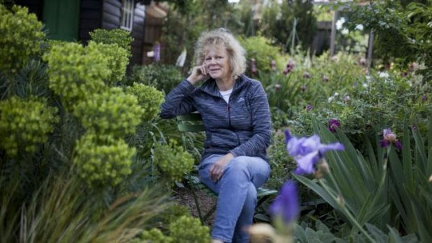 Sandra McMahon - well-known Melbourne garden designer in her own garden 'Woodcote'