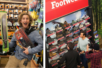 Photo: Brett got excited about all the cool toys while Terrence weighed up different footwear options.