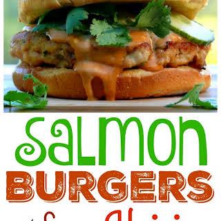 Salmon Burgers with Spicy Hoisin Mayo.