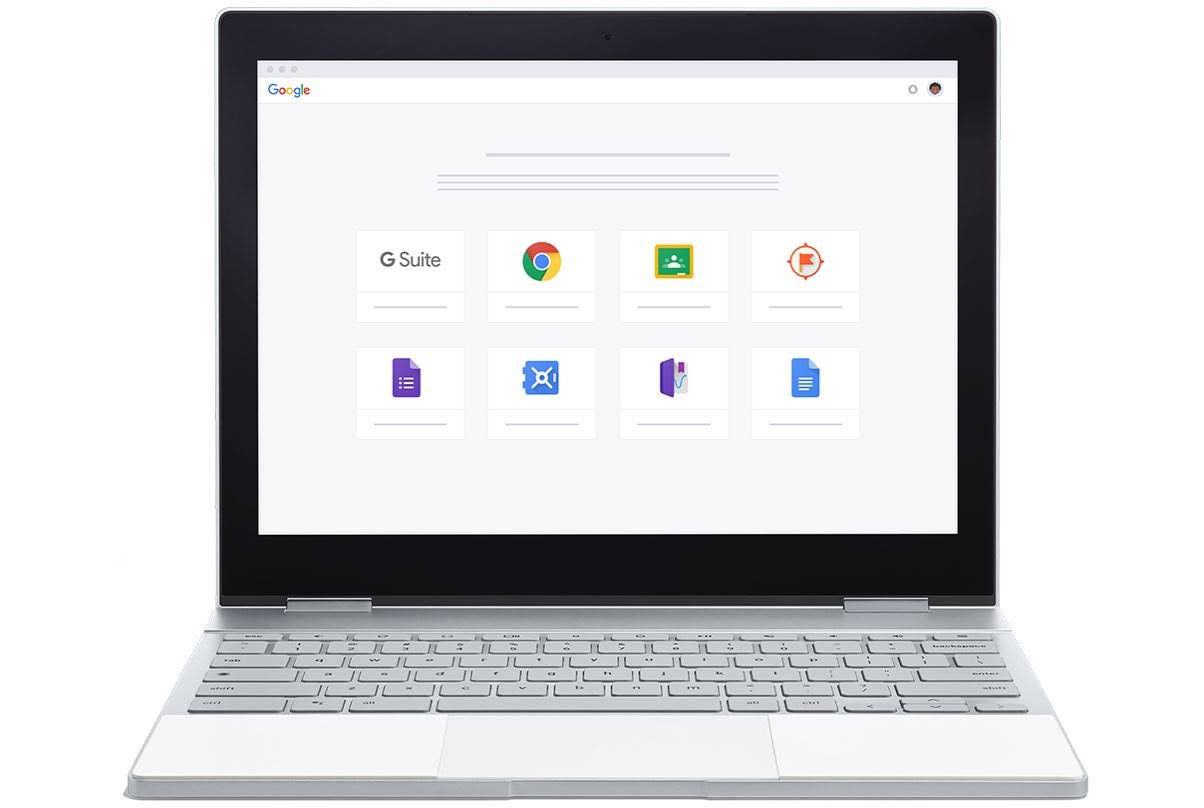 Um Pixelbook mostra o site de suporte aos produtos do Google for Education, com divisões por produto: G Suite, Chrome OS, Google Sala de Aula, Expedições, Formulários Google, Google Vault, Science Journal e Documentos Google.