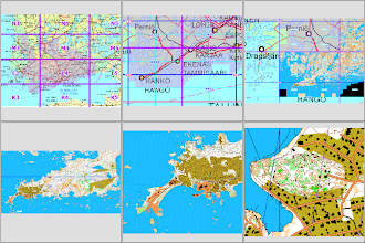 Photo: QGIS screen captures at different scales, an example from Cape Hankoniemi: Karttapullautin maps as geotiff files in pyramidized virtual datasets, becoming first visible as low res versions at 250K, and as better versions when zoomed closer