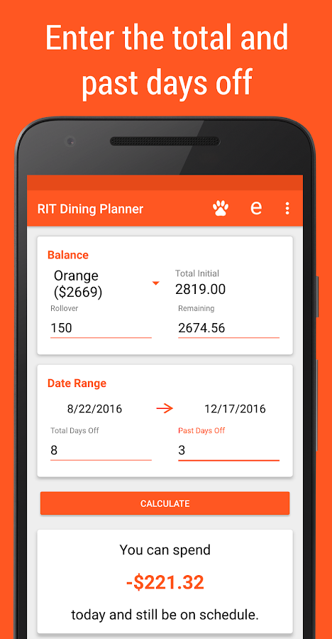 RIT Dining Planner- screenshot