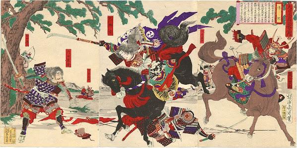 Tomoe Gozen montando a caballo con su alabarda