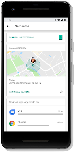 Schermata su dispositivo mobile che mostra la posizione del dispositivo di un bambino