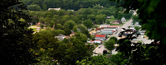 Photo: Downtown Gays Mills Wisconsin, June 2010 Red roof building is upper right 3rd of the photo.
