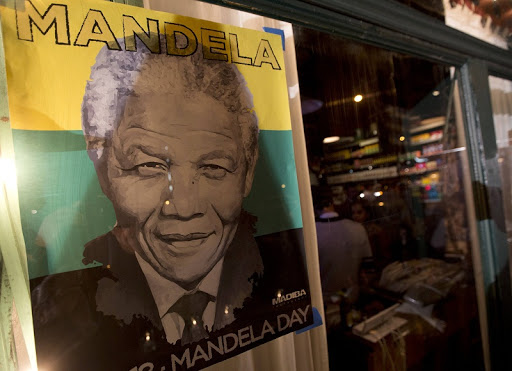 A poster of Nelson Mandela in Brooklyn, New York, the US. Picture: REUTERS