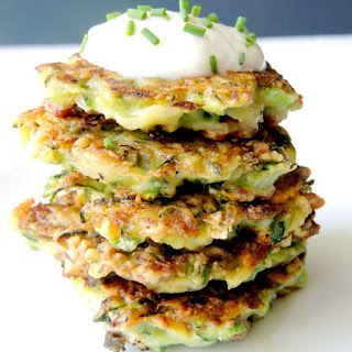 Zucchini Fritters with Bacon and Cheese.