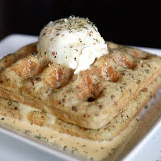 Savory Paleo Waffles with Poached Eggs and Hollandaise Sauce.