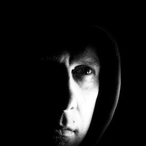 Self Portrait  by Werner Booysen - People Portraits of Men ( selfie, stare, black & white, self portrait, gary fong, man, werner booysen, Selfie, self shot, portrait,  )