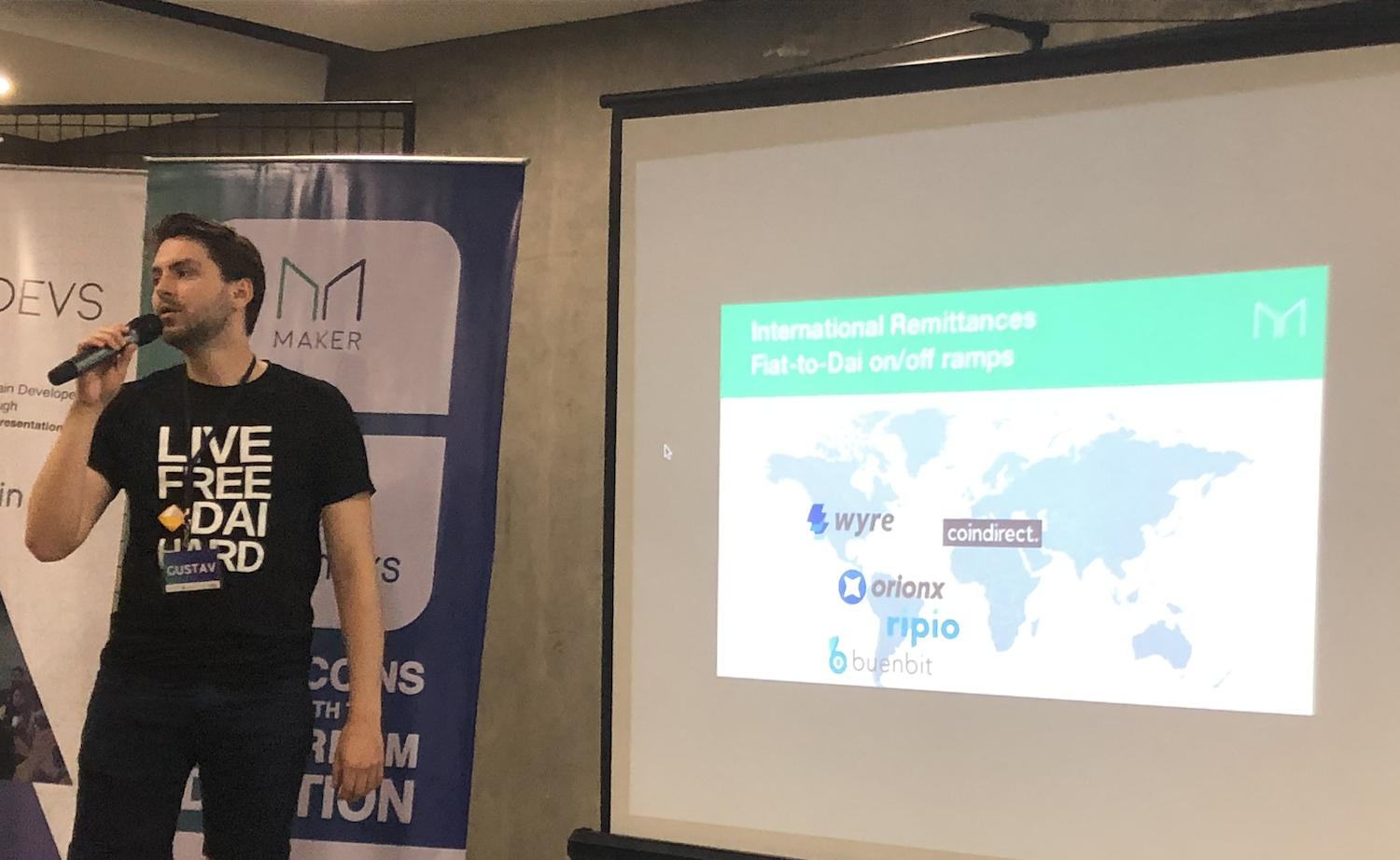 Maker representatives around the world educate crypto event attendees on the cheapest way to transfer money internationally.