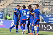 Teboho Mokoena of SuperSport United celebrates his goal with teammates during the Absa Premiership match between SuperSport United and Bloemfontein Celtic at Lucas Moripe Stadium on January 20, 2019 in Pretoria, South Africa.