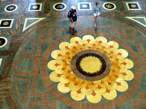 Photo: The design of the floor recalls the design used in the stained glass ceiling above it.  Check out the excellent photos on Flickr taken by staff of the LOC: http://www.flickr.com/photos/library_of_congress/sets/72157630557681056/show/