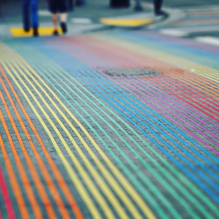 The rainbow crosswalk in the Castro.