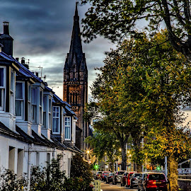 Early morning Inverness  by Gordon Bain - City,  Street & Park  Street Scenes ( inverness, douglas row, early morning )
