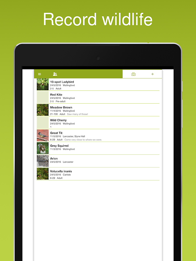 iRecord App- screenshot
