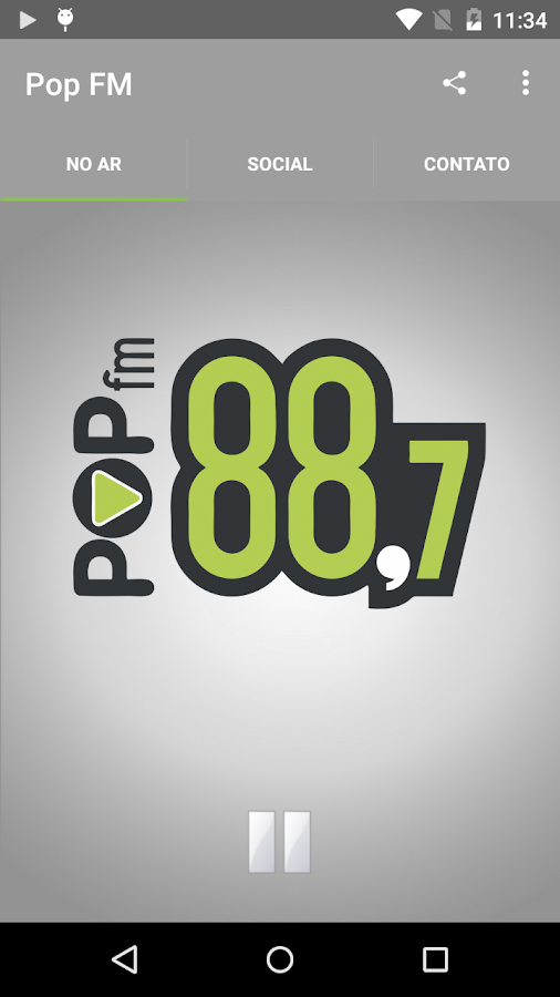 Pop FM: captura de tela