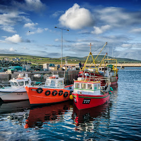 vessels of Portmagee by Cristina Orlandini - Transportation Boats ( portmagee, clouds, europe, ireland, sunset, colors, sea, nord, fishing, ocean view, emotion,  )