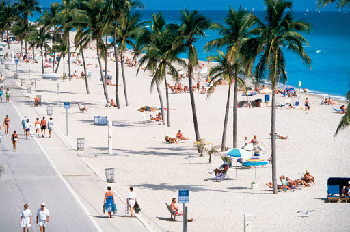 The Hollywood Beach Boardwalk near Fort Lauderdale, Florida.