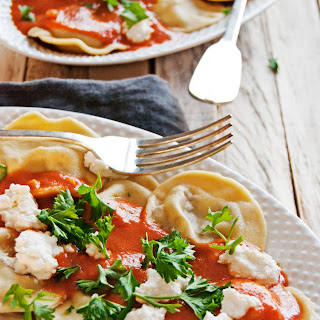 Beef Ravioli with Creamy Tomato Sauce