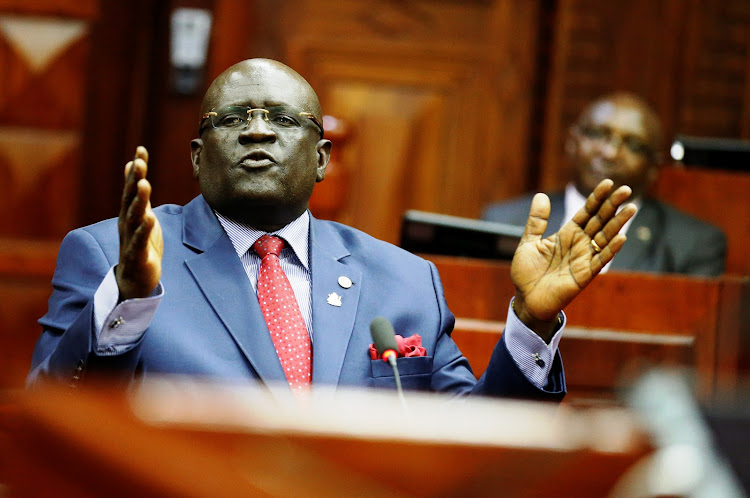 Education CS nominee Prof George Magoha during his vetting at County Hall on Thursday