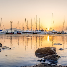 The Haven by Bogdan Rusu - Landscapes Travel ( water, port, sunset, boats, rocks )