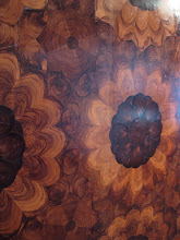 Photo: Cabinet inlay. All done from a single piece of olive wood, cut in various shapes and on various angles.