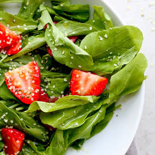Strawberry Arugula Salad with Toasted Hemp Seeds.