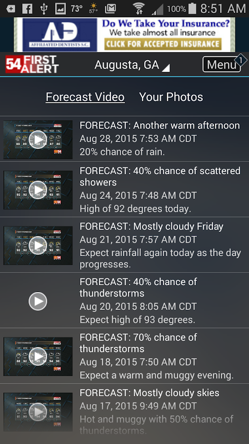 WFXG First Alert Weather- screenshot