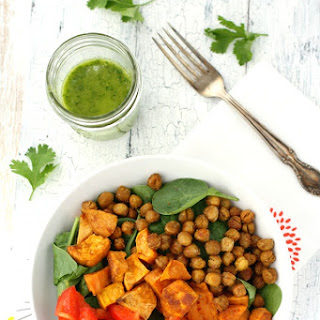 Spinach Salad with Roasted Sweet Potatoes and Chickpeas..