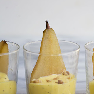 Poached Pears with Black Pepper and Lemon Sabayon