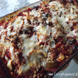 Baked Eggplant Parmesan with olives
