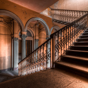The arches villa by Marlou Nijpels - Buildings & Architecture Decaying & Abandoned ( cool, colourbex, urban, urbex, stairs, colourful, villa, staircase, castle, beauty, light, decay, abandoned )