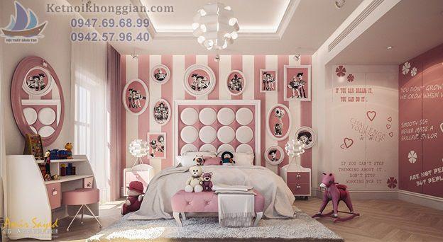 thiết kế phòng ngủ cho bé dễ thương kiểu công chúa