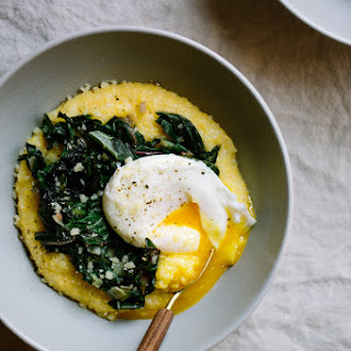 Parmesan Polenta Bowls with Seasonal Greens, Leeks, and Poached Eggs Recipe