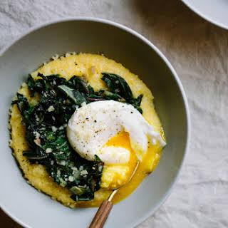Parmesan Polenta Bowls with Seasonal Greens, Leeks, and Poached Eggs.
