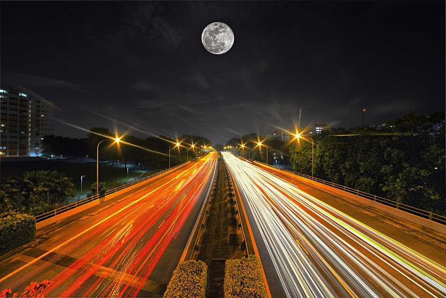 Leading to Moon by Kafoor Sammil - Landscapes Starscapes
