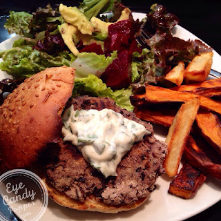 Black Bean Burger With Cilantro Aïoli And Sweet Potato Wedges (vegan)