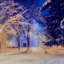 View of the monastery by Zeljko Jelavic - City,  Street & Park  Night ( monastery, snow, night, winter )