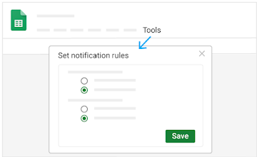 Click Tools to open a window where you set notifications rules