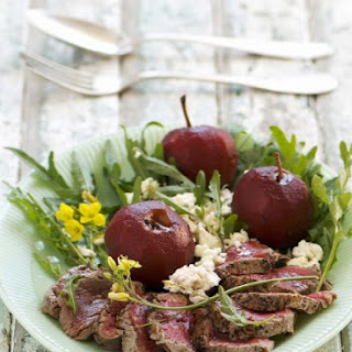 Sliced Steak with Poached Fruit