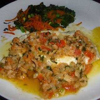John Dory Fillets with a Brown Shrimp, Shallot and Tarragon Sauce.