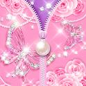 Zipper Lock Screen Pink Butterfly Pearl icon