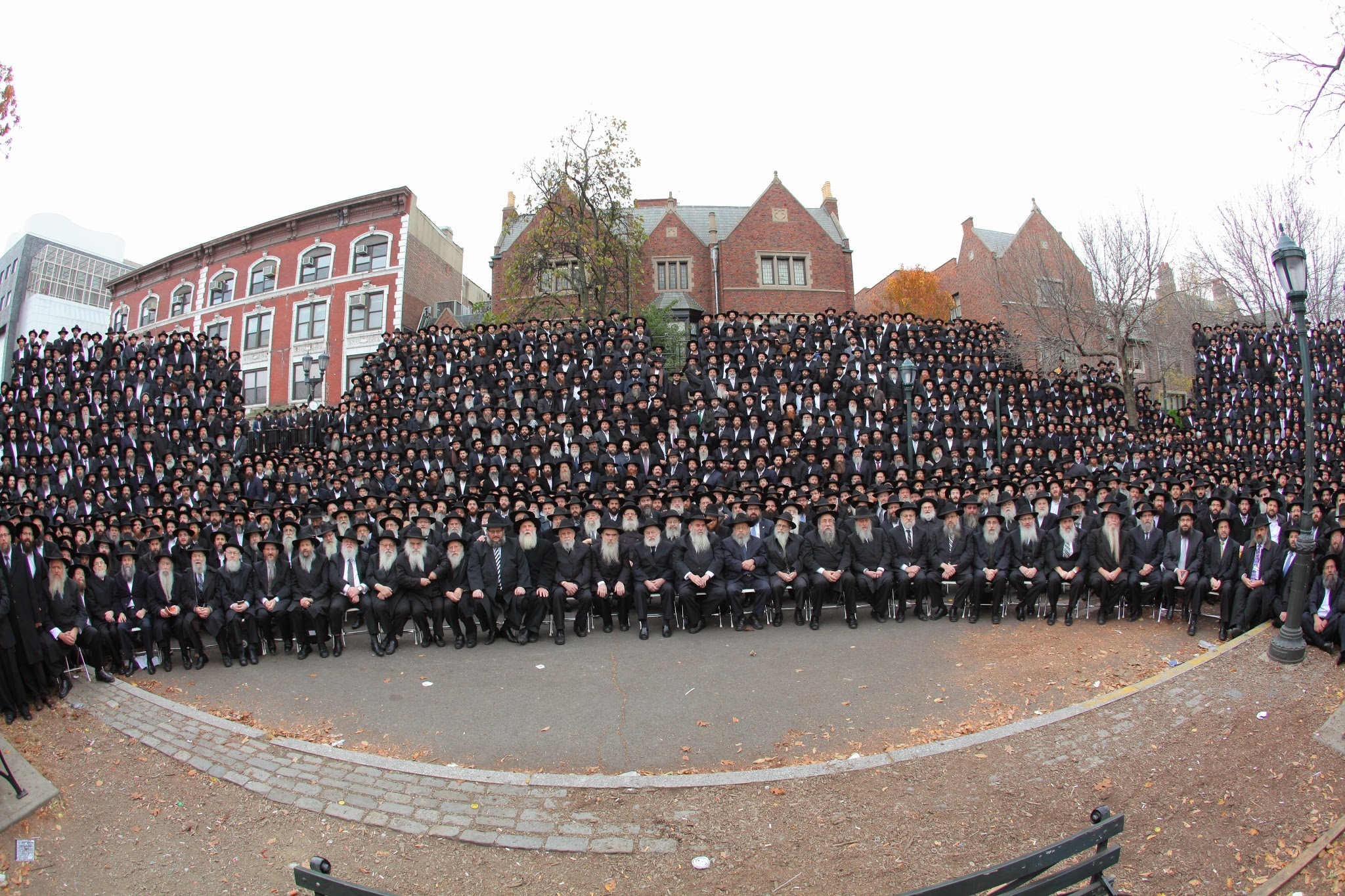 Photo: Thousands of rabbis pose for a group photo in front of Chabad-Lubavitch world headquarters in the Brooklyn borough of New York, Sunday, Nov. 3, 2013. They are among nearly 4,000 rabbis from around the world who are in New York for the International Conference of Chabad-Lubavitch Emissaries, an annual event aimed at reviving Jewish awareness and practice around the world.  Credit: Meir Alfasi / Chabad.org