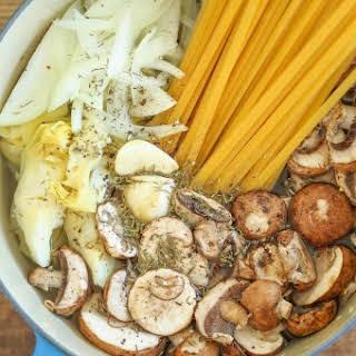 One Pot Mushroom Spinach Artichoke Pasta.