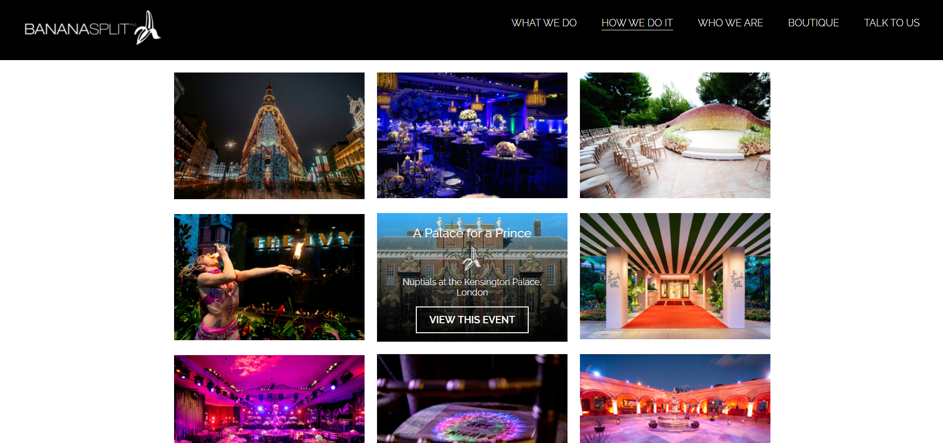 Gallery page example of an event management website.