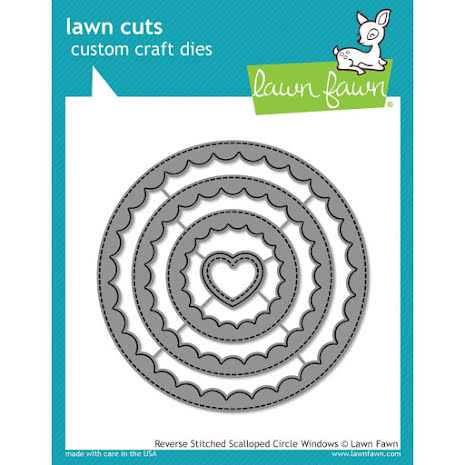 Lawn Fawn Custom Craft Die - Reverse Stitched Scalloped Circle Window