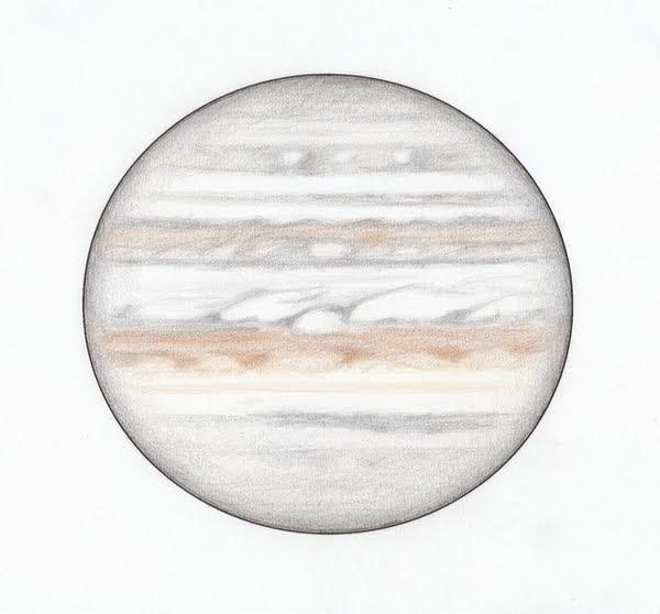 Photo: Jupiter, le 10 février 2018, à 6h50 HL. T406, grossissement 400X, en bino. Taille 36'' d'arc.
