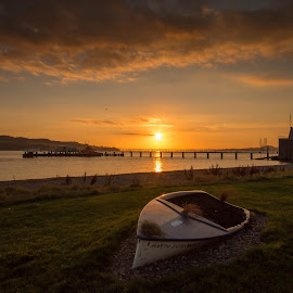 Boat by Iain Cathro - Novices Only Landscapes ( scotland, tay, dundee, broughty ferry, sunset, lifeboat, fisher, boat, river )